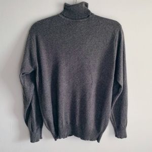 Gray Silk and Cashmere Turtleneck Sweater Medium